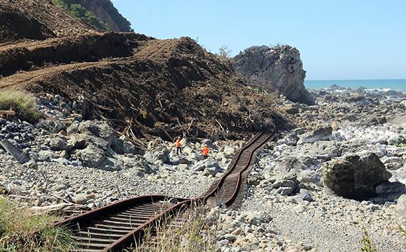Damaged rail line at Kaikoura